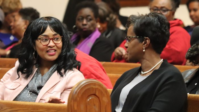 Community members in a church